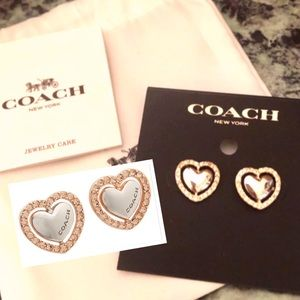 COACH Heart Earrings Rose Gold/Silver W Crystals